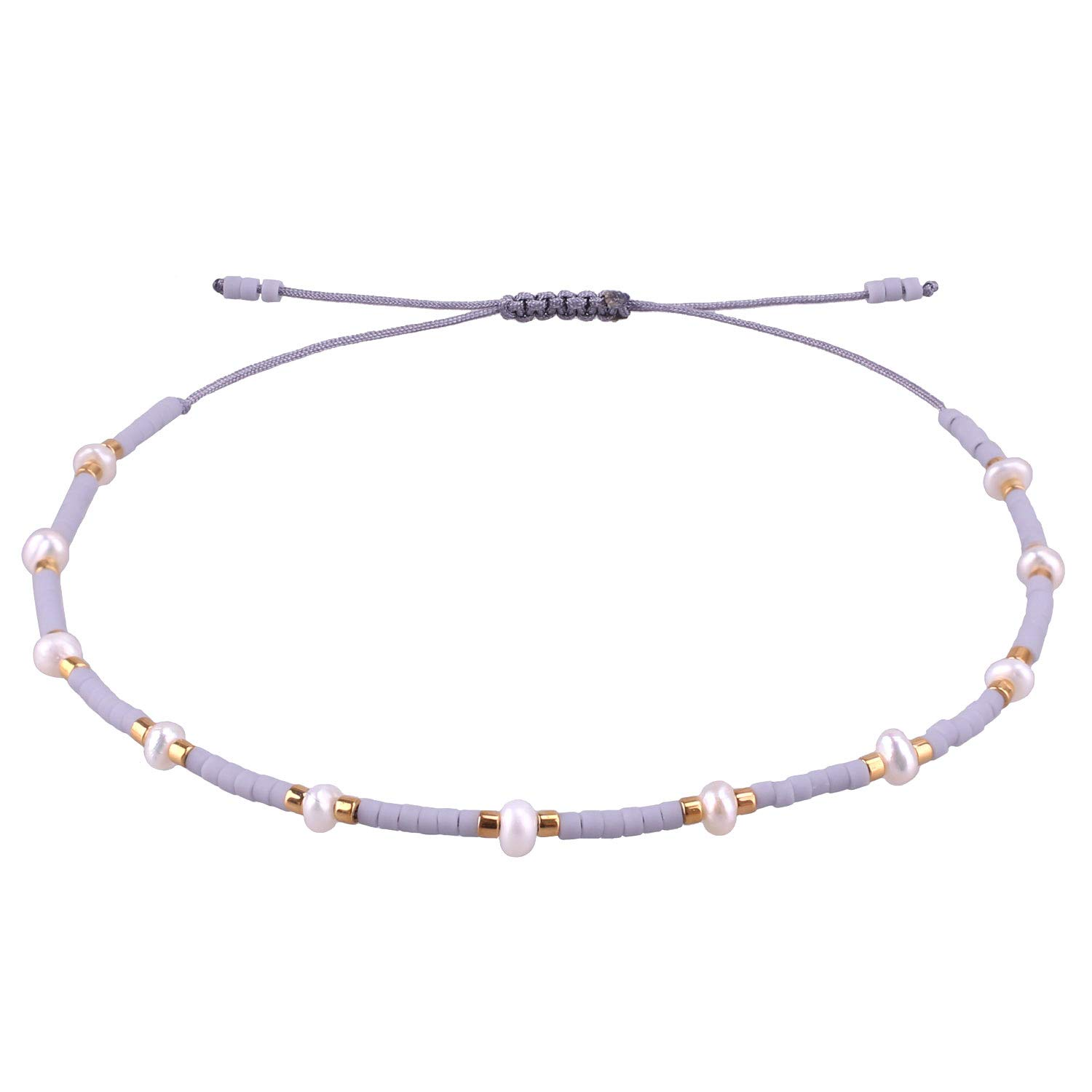 KELITCH Color Mixed Shell Seed Beads Strand Bracelet Hand Woven Fashion Jewelry Bangles (Grey L)