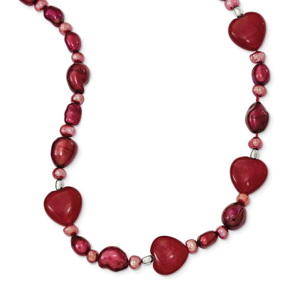 Perfect Jewelry Gift Sterling Silver Red Jade Hearts/FW Cultured Pearl Necklace