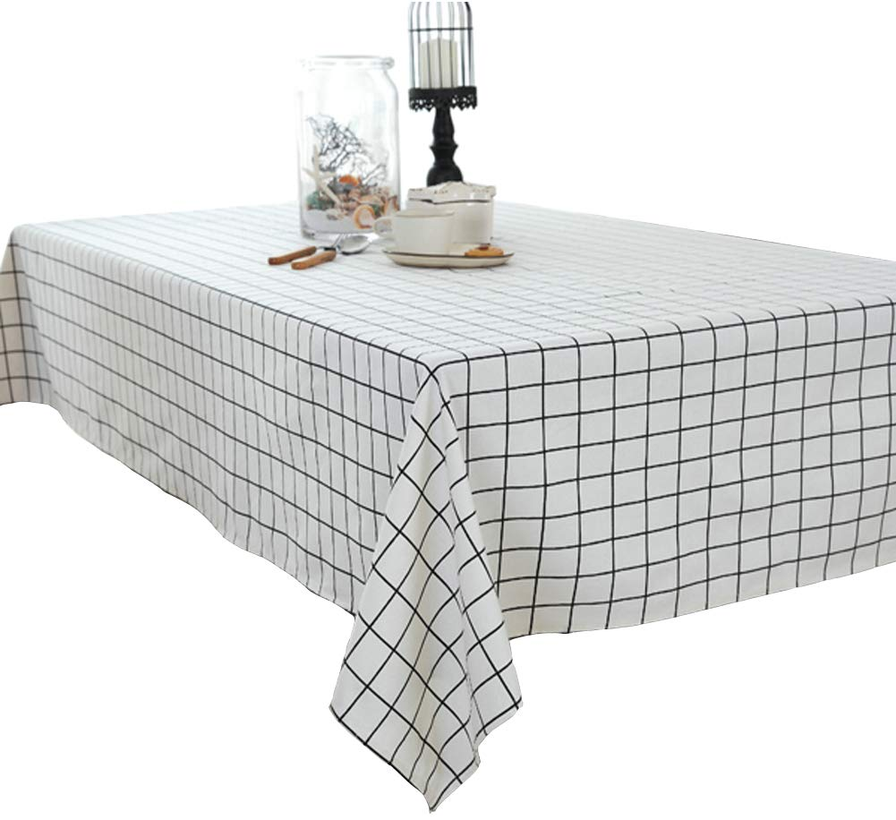 Elome Washable Classic Rectangular Cotton Linen White Check Tablecloth, Basic Everyday Tablecloth Dinner Picnic Table Cloth Home Decoration Assorted Size (36 Inch x 55 Inch) by LeLehome