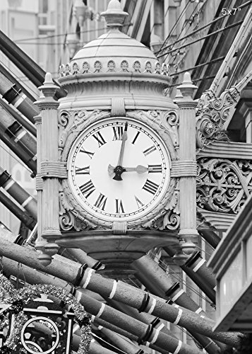 Chicago Marshall Fields clock, black and white picture, photo paper or canvas, 5x7 to 24x36