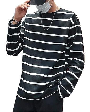 de3c595c57e XTX Men s Long Sleeve Plus Size Sport Stripe Print Round Neck Loose Fit  T-Shirt