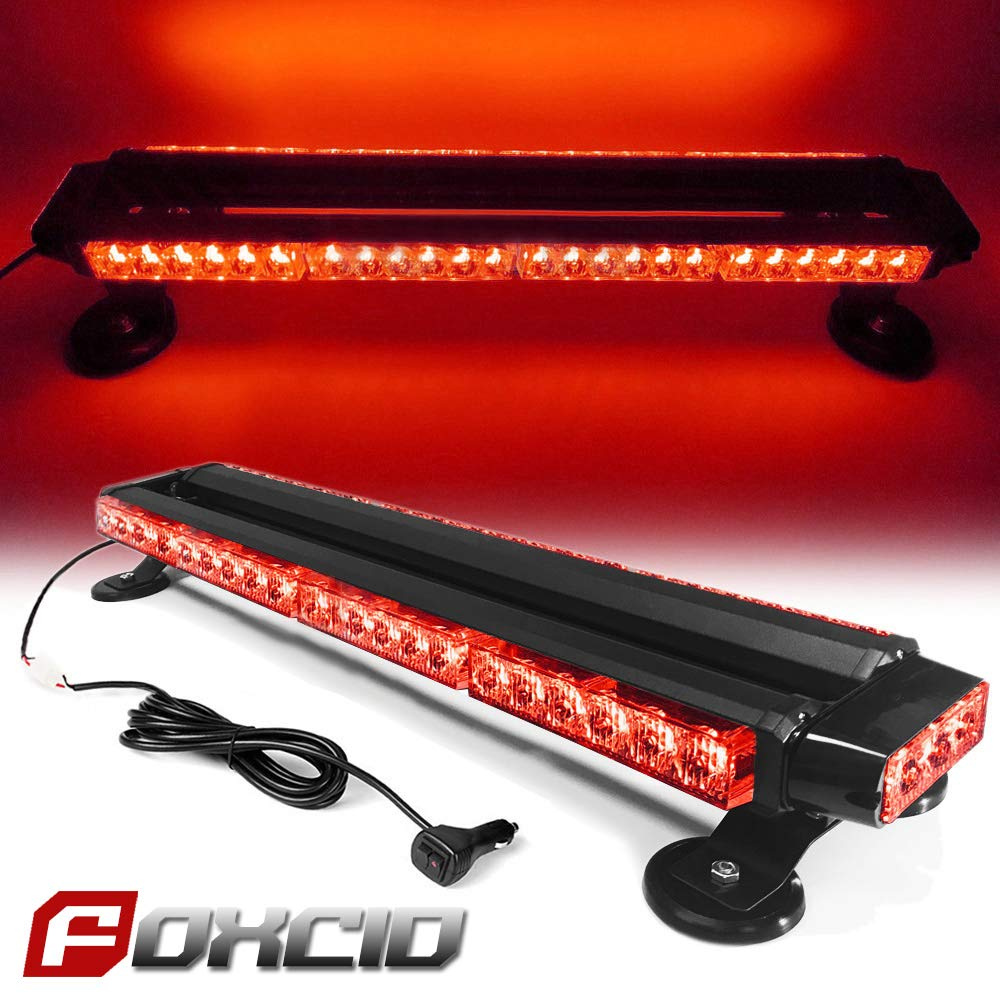 for Plow or Tow Truck Construction Vehicle FOXCID Red Blue 26 54 LED Emergency Warning Security Roof Top Flash Strobe Light Bar with Magnetic Base