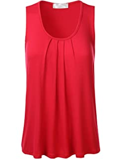 3feafa8a6881f4 FLORIA Womens Round Neck Pleated Front Sleeveless Stretchy Blouse Tank Top  (S-3XL)