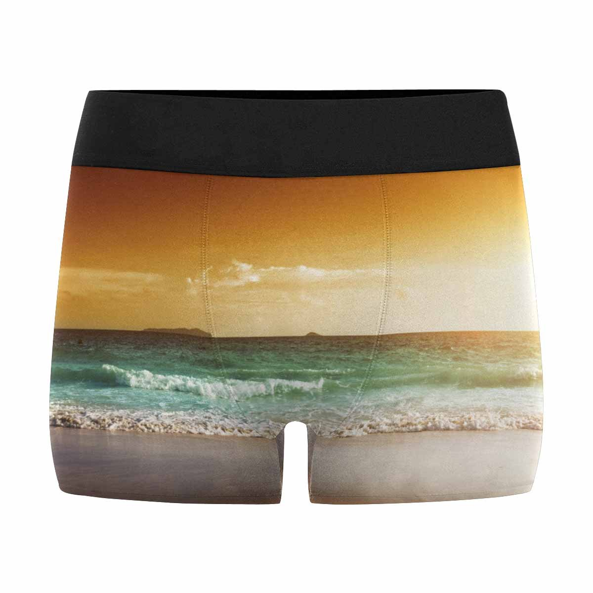INTERESTPRINT Mens Boxer Briefs Underwear Sunset on Seychelles Beach XS-3XL