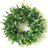 Haperlare Artificial Green Leaf Wreath Simulation Garland Door Wreath Green Wreath for Home Door Hanging Wall Window Wedding Christmas Party Decoration 11.8 inch