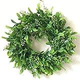 Haperlare Plastic Artificial Green Leaf Wreath Simulation Garland Door Wreath Green Wreath for Home Door Hanging Wall Window Wedding Christmas Party Decoration 11.8 inch