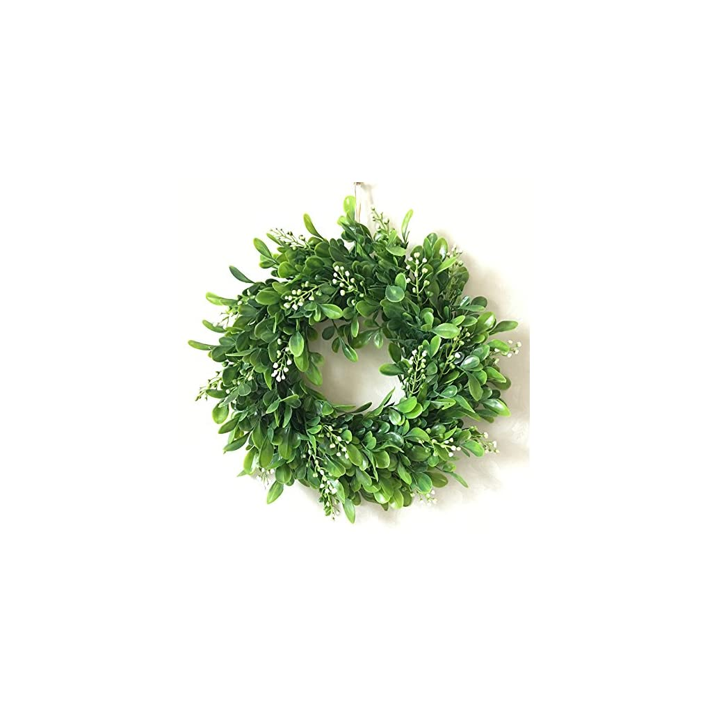 Haperlare-Artificial-Green-Leaf-Wreath-Simulation-Garland-Door-Wreath-Green-Wreath-for-Home-Door-Hanging-Wall-Window-Wedding-Christmas-Party-Decoration-118-inch