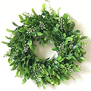 Haperlare Artificial Green Leaf Wreath Simulation Garland Door Wreath Green Wreath for Home Door Hanging Wall Window Wedding Christmas Party Decoration 11.8 inch 89