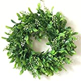 Zehui Lifelike Artificial Green Leaf Wreath Flowers Door Hanging Wall Window Decoration Wedding Party Christmas Decor No Powder F# Outer Diameter 30CM