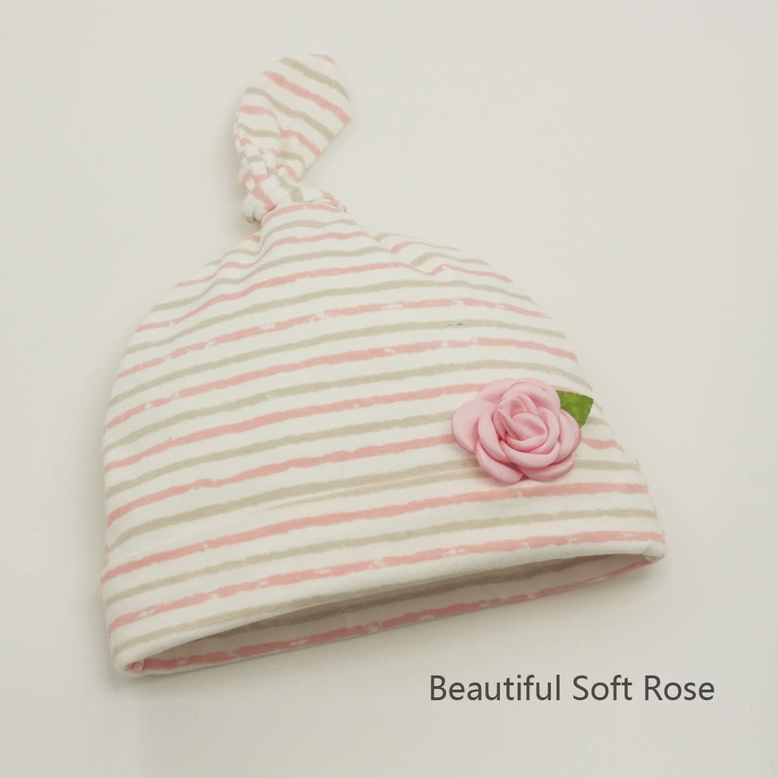 White Printed Cotton with White /& Pink Lace Pink Bows /& Ties Baby Bonnet