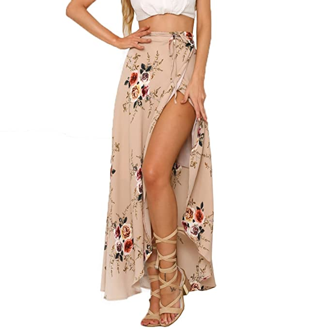 f8fe382edb ANRABESS Women Boho Floral Print High Waist Summer Bech Wrap Maxi Skirt  Cover Up at Amazon Women's Clothing store: