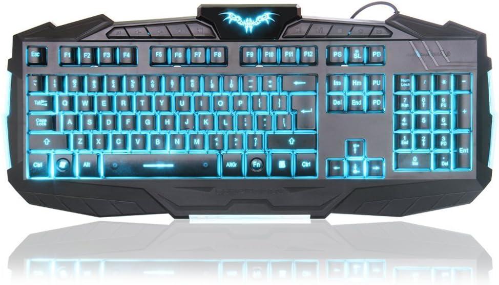 Teclado y Mouse Set - MFTEK USB con cable de LED de 3 colores retroiluminada Gaming Teclado y ratón Combo Set para el ordenador portátil de escritorio ...
