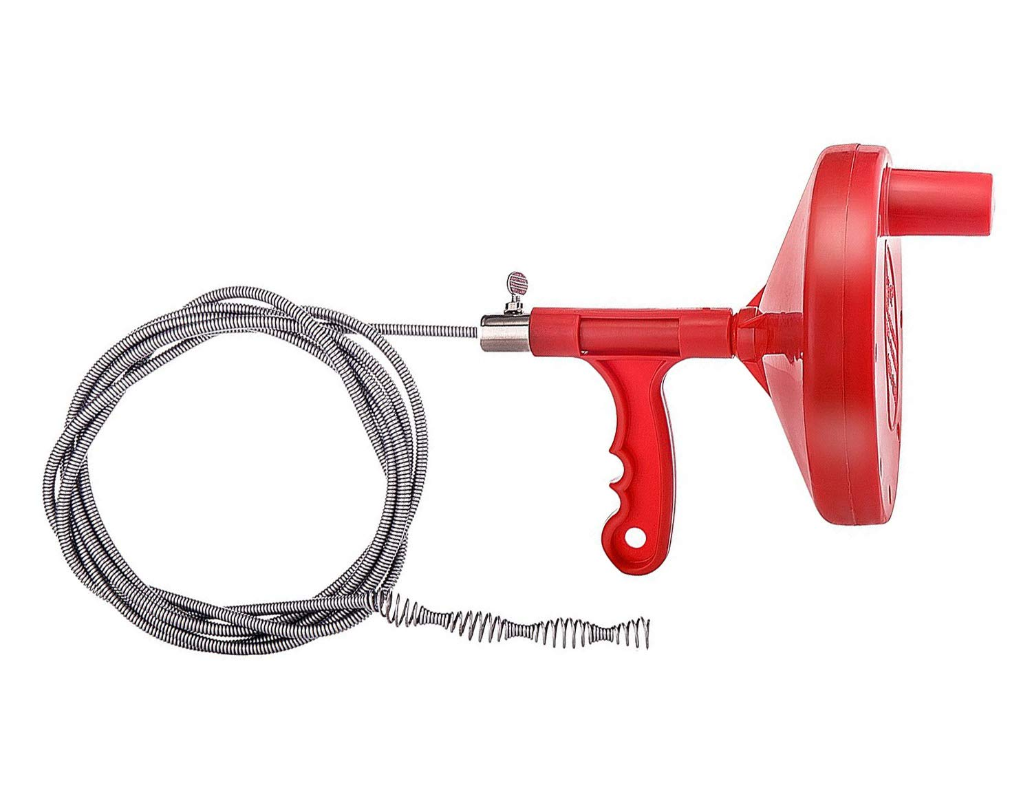 onlyyou Drain Snake, Drain Auger, 1/4-Inch Drain Clog Remover, Tube Drain Cleaning (Red)