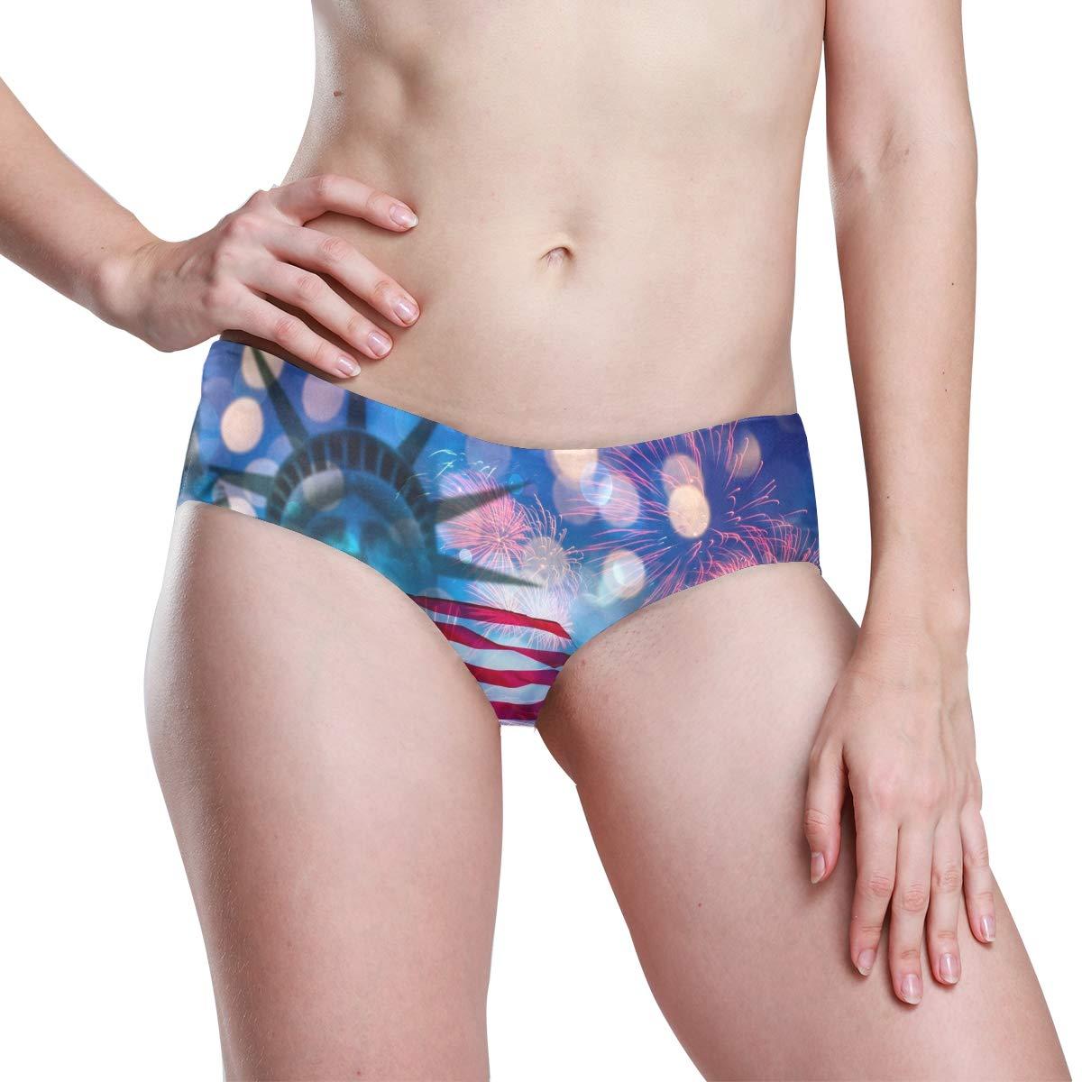 KGuanJi Seamless Independence Day America Flag Bikini Underwear Low Rise-2 Pack