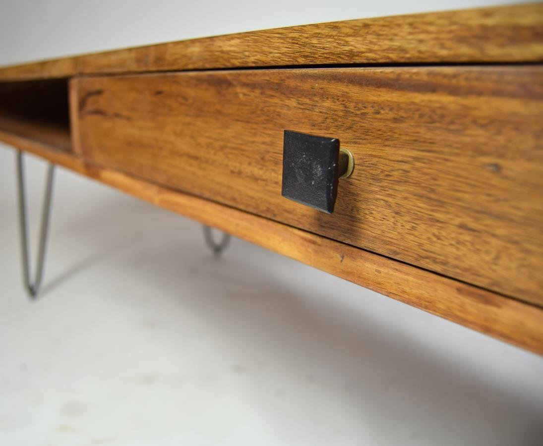 Massivholz couchtisch retro easy living haarnadelfüße 120 x 60 ...