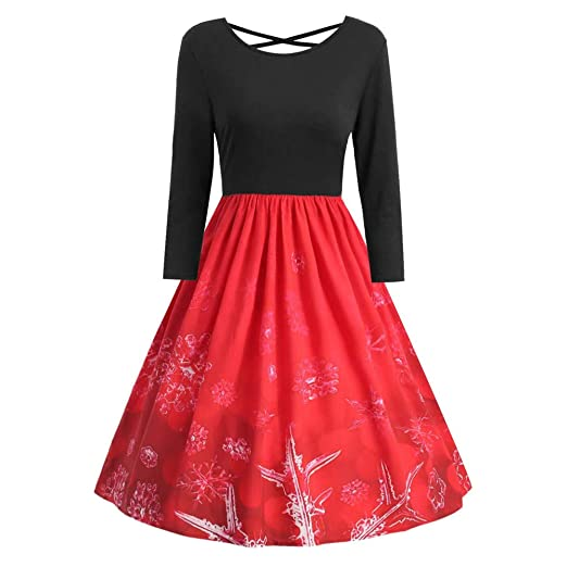 9bed2c777d Opeer ♥‿♥Vintage Christmas Dresses for Ladies Women Fit and Flare Long  Sleeve Print