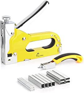 NewWay Manual Staple Gun Kit 3 in 1 Heavy Duty Staple Gun with Remover and 1200 Staples, Portable Stapler for Upholstery, Mounting, Decoration, DIY, Furniture, Adverstising Board, Doors or Windows