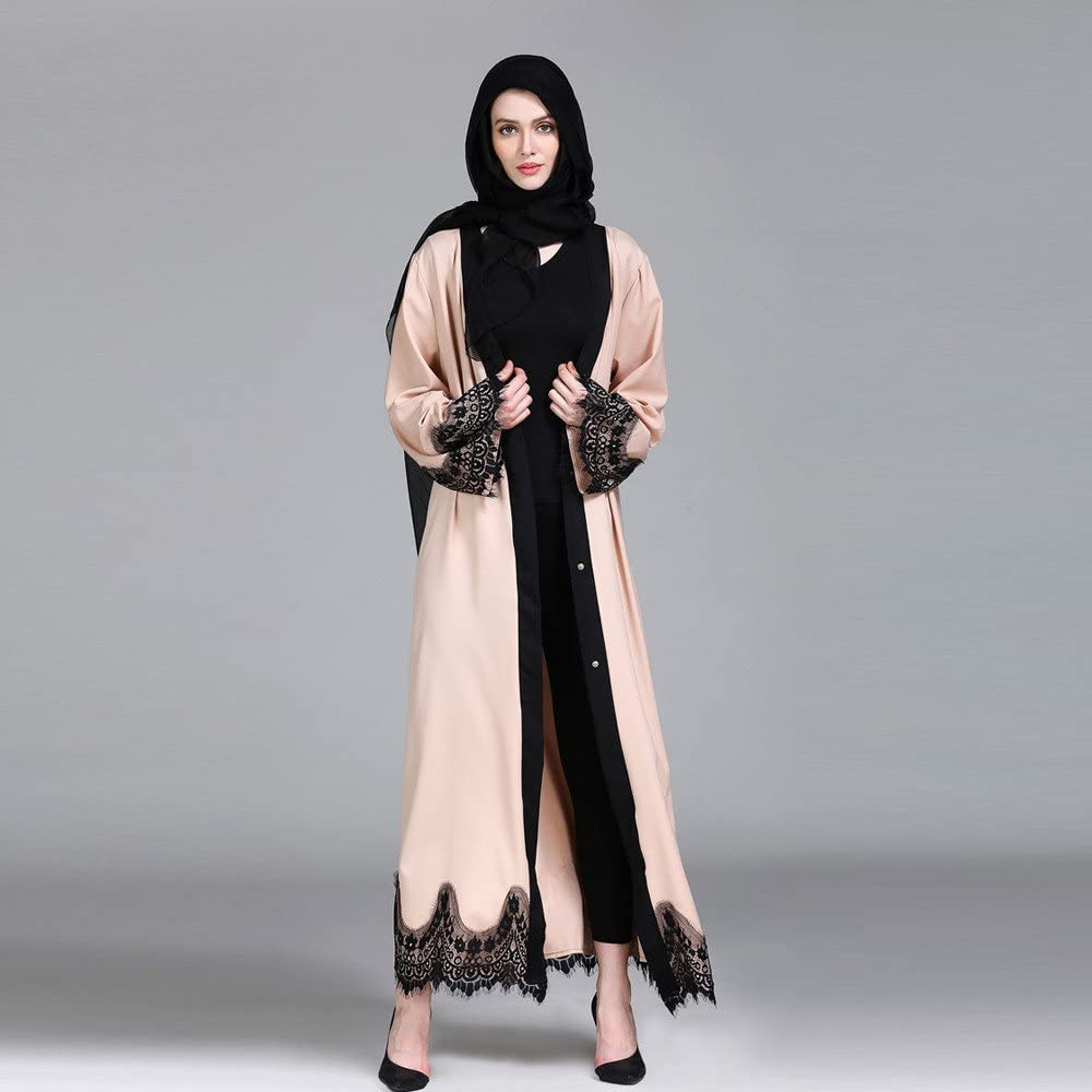 VJGOAL Donna 2020 Bello Cardigan Musulmano di Pizzo Ricamo Floreale Etnico Orientale Abiti Dubai Manica Lunga Abaya Lungo Elegante Abra Kaftan Islamico Primavera Estate per Ramadan Non Turbante