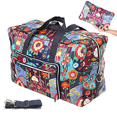 Travel Duffel Bag Foldable Large Travel Bag Weekend Bag Checked Bag Luggage Tote 18 Style 21.6IN x 9.8IN x 13.7IN (A cute flower)