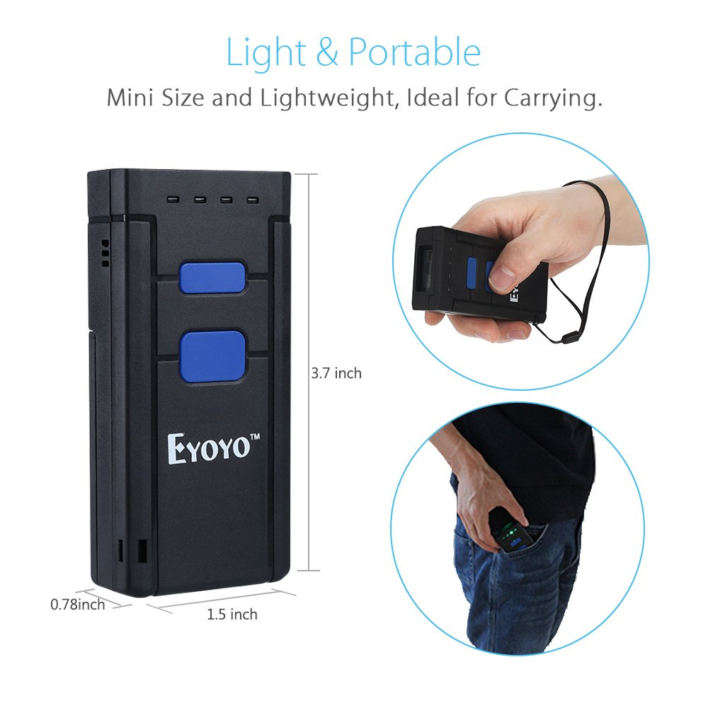 Eyoyo Mini 1D Wireless Barcode Scanner,Compatible with Bluetooth Function & 2.4GHz Wireless & Wired Connection, Portable Barcode Reader Work With Windows, Mac,Android, iOS Phones, Tablets or Computers by Eyoyo (Image #5)