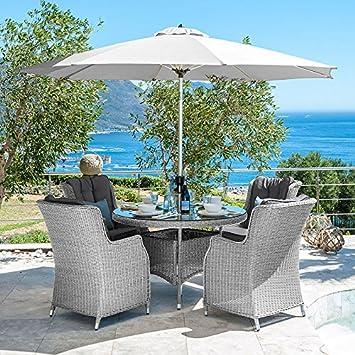Nova Rattan Esstisch Garten Möbel Set Von Thalia Set 1 2 M Weiß