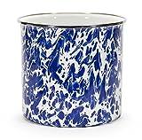 Kitchen Utensil Holder Crock Kitchen Storage Organization Containers Blue Swirl Enamelware 6'' Set of 2