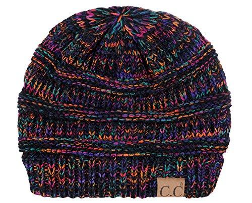 C.C Trendy Warm Chunky Soft Stretch Cable Knit Beanie Skully, Black/Multi