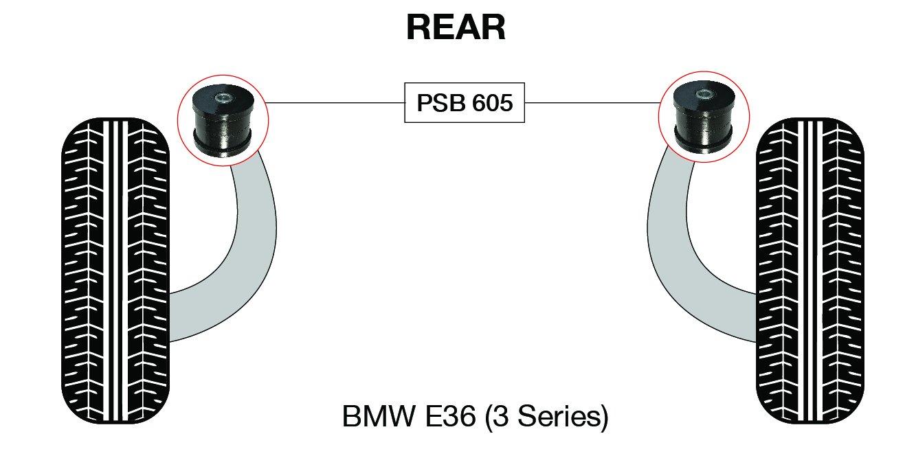 psb Bush BMW E46 (serie 3) brazo de remolque trasero Kit de casquillos 1998 –  2005 PSB Problem Solving bushings