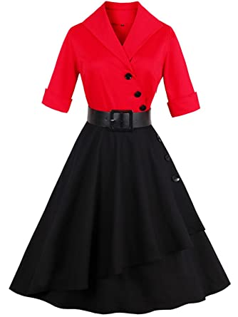 Womens Vintage 1950s Cocktail Dresses with Long Sleeves,Black Red,S