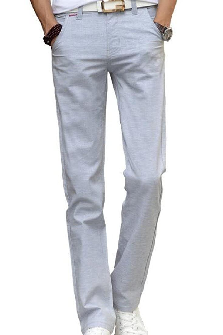 Kankanluck Mens Linen Solid Straight Longline Casual Trousers
