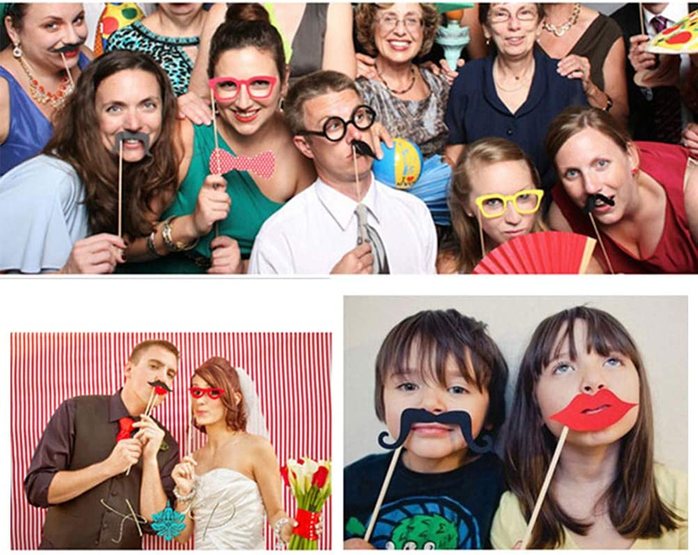 Wedding Photobooth Props Kit Engagement Photo Booth Accessories with Wooden Dowels for Funny Accessories nuoshen 59 pcs Birthday Photo Booth Props