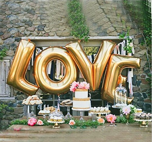 (Ruimeier B-G Love (40 INCH) Extra Large Balloon Set Romantic Wedding Independence Day Bridal Shower Anniversary Engagement Party Décor Vow Renewal(Gold) H009)