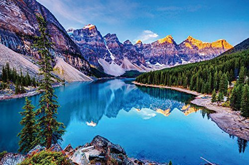 Nature Poster Canvas Art Print - Nature mountains sky lake clouds