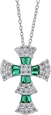 precious stone and silver emerald necklace 925