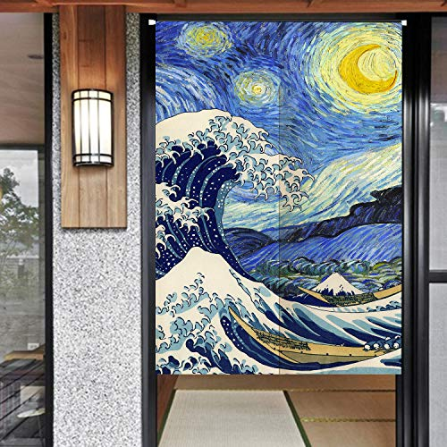 Night Door Curtain - Ofat Home Blue Jpanese Artistic The Great Wave Starry Night Doorway Curtain Cotton Linen 33.5