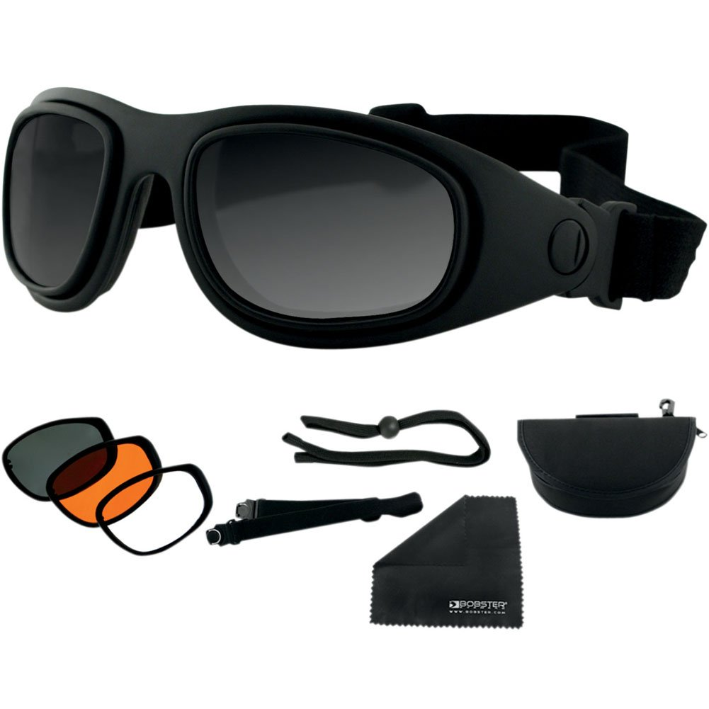 Bobster Sport & Street 2 Interchangeable Touring Motorcycle Goggles Eyewear - Black/Smoke/Amber/Clear / One Size Fits All by Bobster (Image #1)