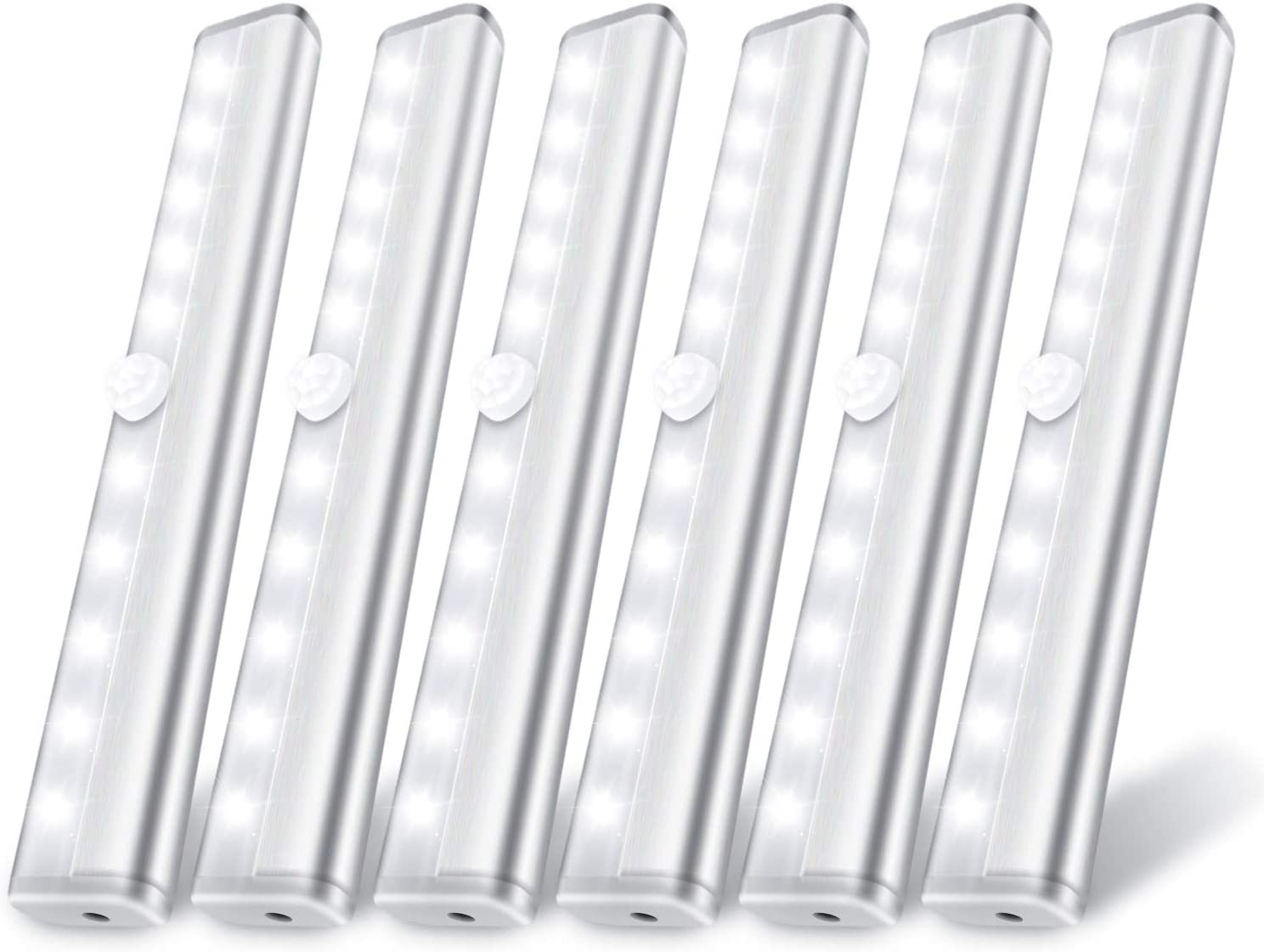 6 Pack LED Motion Sensor Lights, 10 LED Closet Battery Operated Lights, Stick-On Anywhere Magnetic Wireless Night Light Bar, Led Safe Light Indoor for Closet Stairs Wardrobe