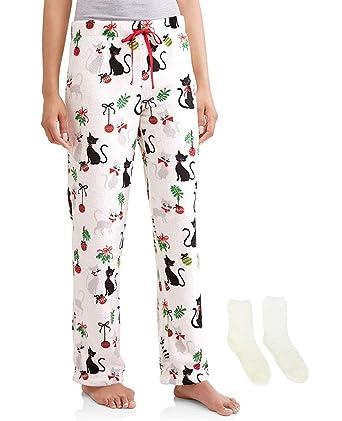 Secret Treasures Women s Holiday Kitty Cat Super Minky Sleep Pajama Pants  (Small) eab5b7450