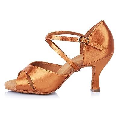 HROYL Chaussons de Danse Latine en Satin Pour l Femme FR-4060 Marron ... 50636491897a