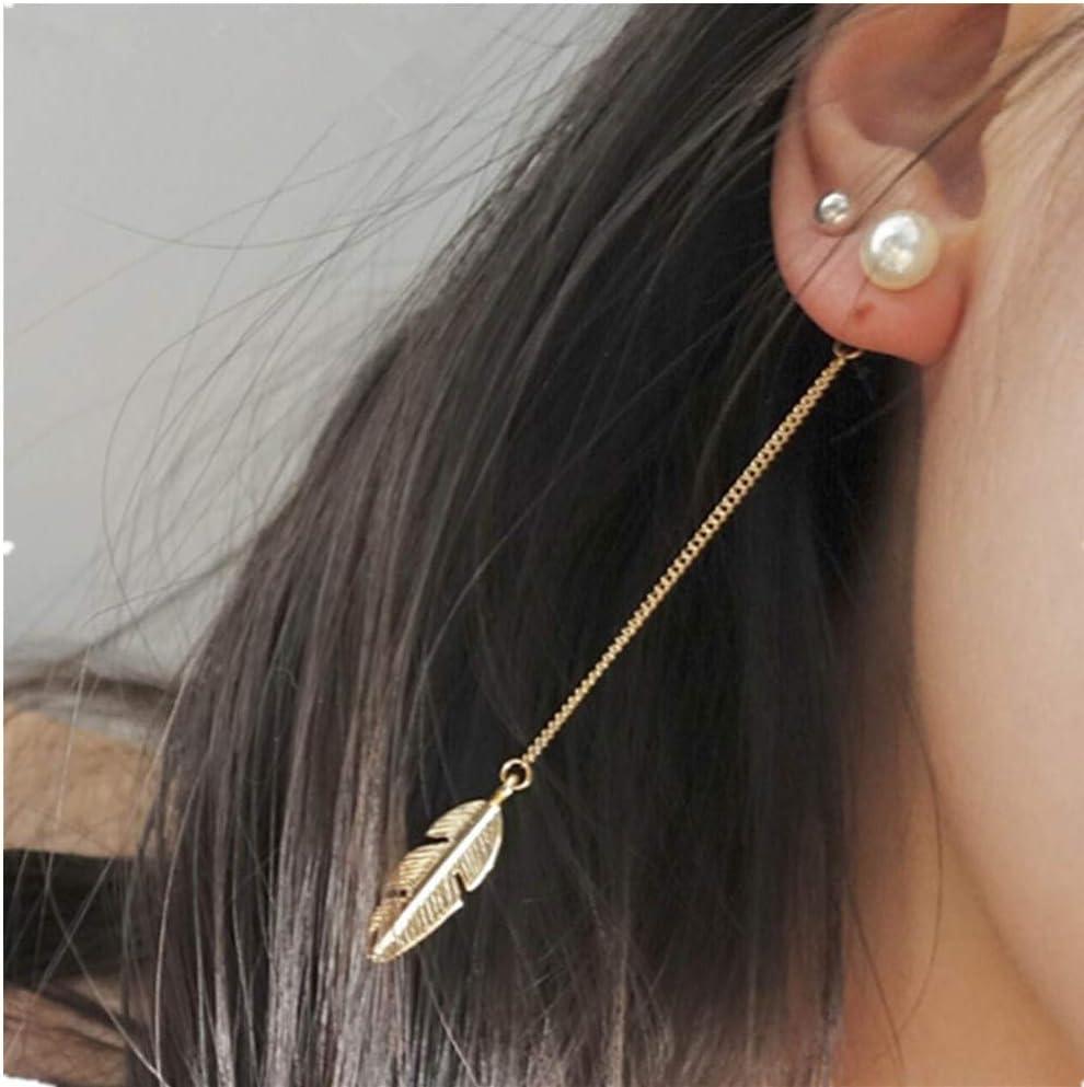 Fashion Feather Leaf Beads Tassel Earrings Boho Long Water Drop Dangle Ear Hook