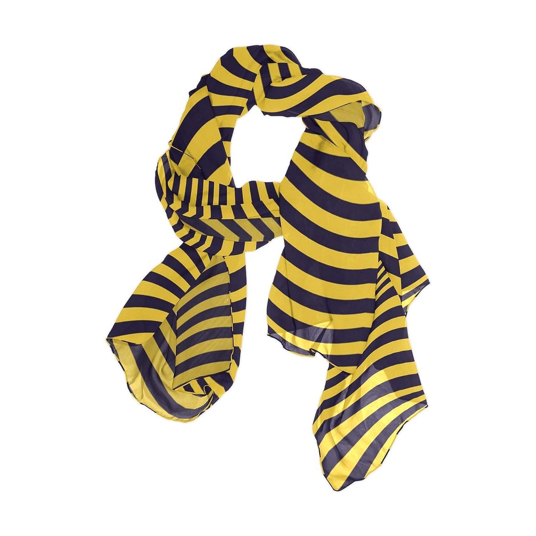 Senya Women's Fashion Large Long Sheer Silk Scarf Shawl Wrap, Black & Yellow Stripes