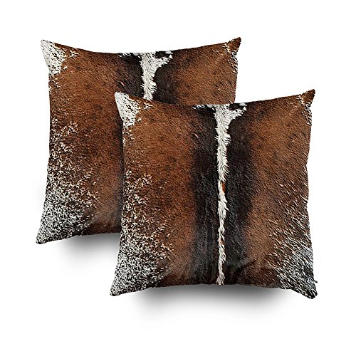 Musesh Pack of 2 brindle brown cowhide leather print Cushions Case Throw Pillow Cover For Sofa Home Decorative Pillowslip Gift Ideas Household Pillowcase Zippered Pillow Covers 20X20Inch