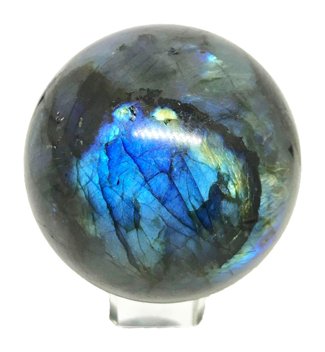 Yinglai 60-70mm Natural Blue Flashy Labradorite Spheres Balls Crystal Stone Healing Balls with Glass Stand by Yinglai