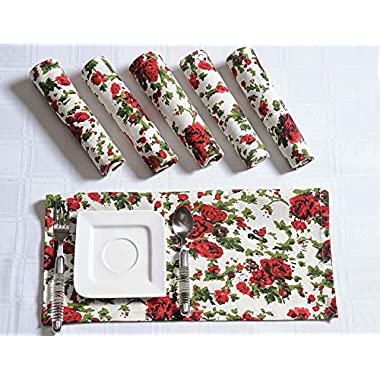 Floral Cotton Dinner Napkins - 20  x 20  - Set of 6 Premium Table Linens for the Dining Room - White, Red and Green Rise