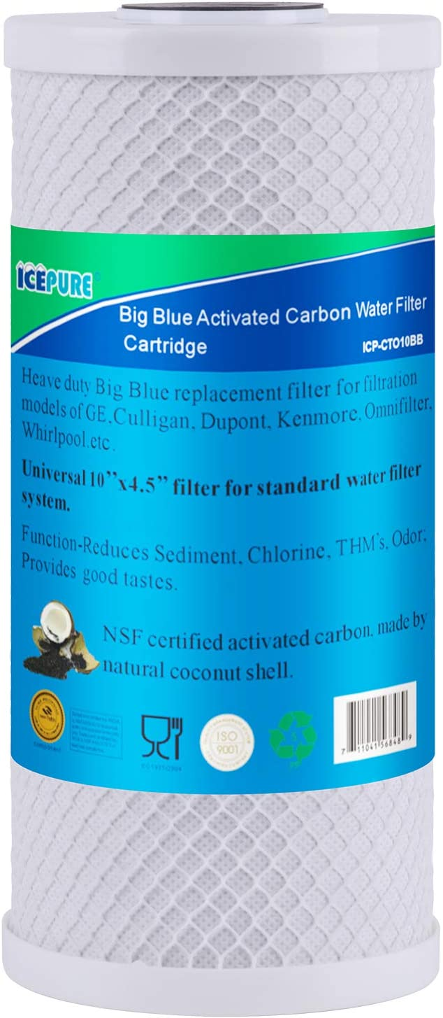 """ICEPURE 10""""X4.5"""",1 Microns CTO10BB Whole House Big Blue Sediment Activated Carbon Water Filter Compatible with Dupont WFHDC8001,Pentair Pentek CBC Series,EP Series,EPM Series,1PACK"""