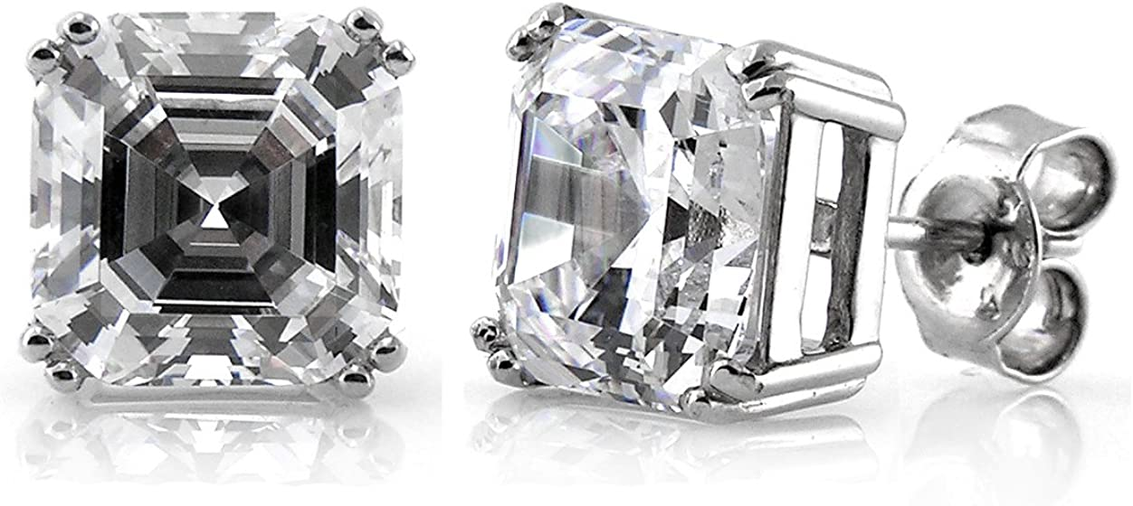 BERRICLE Rhodium Plated Sterling Silver Asscher Cut Cubic Zirconia CZ Solitaire Anniversary Wedding Stud Earrings 8mm 6 CTW