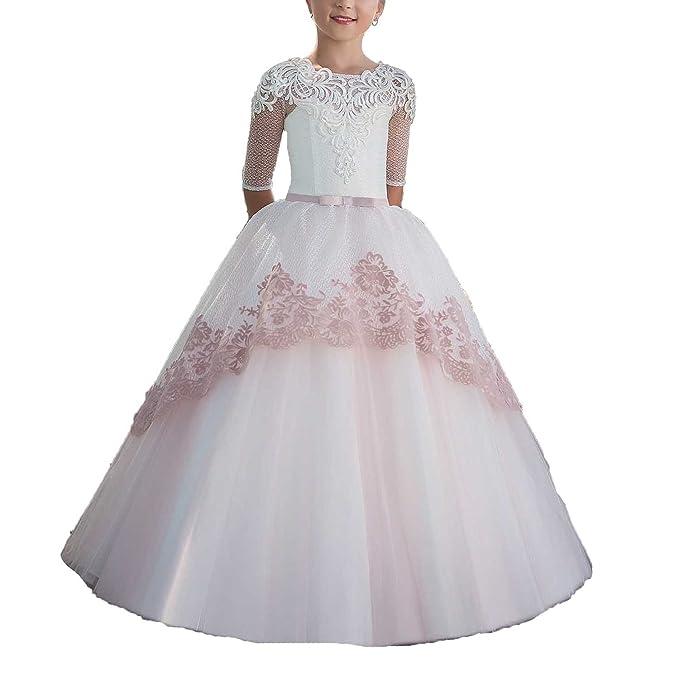 Vestido Comunion Niña Regalos Primera Trajes Vestido Flores Vestidos Para Fiesta (Blanco, Edad 4