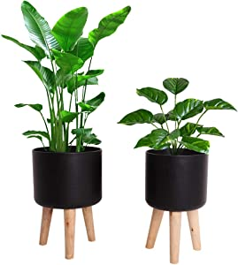 Large Planter Indoor Outdoor, Metal Floor Standing Plant Pot with Wooden Legs, Mid Century 9 inch and 10 inch Planters Containers (Black, Pack of 2)