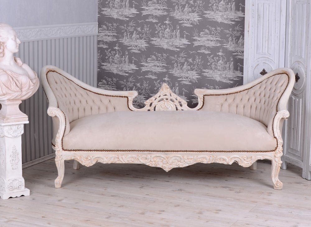 GIGANTISCHES SALON SOFA BAROCK COUCH SITZBANK SHABBY CHIC WEISS PALAZZO EXCLUSIV