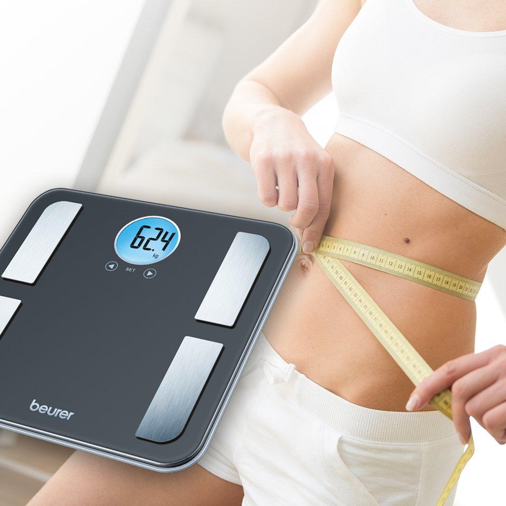 Beurer BF 195 - Báscula de baño diagnóstica con pantalla LED azul, color negro: Amazon.es: Salud y cuidado personal